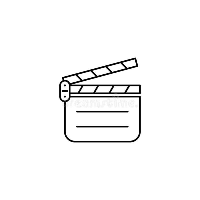 Icono del esquema de la película de Clapperboard ilustración del vector