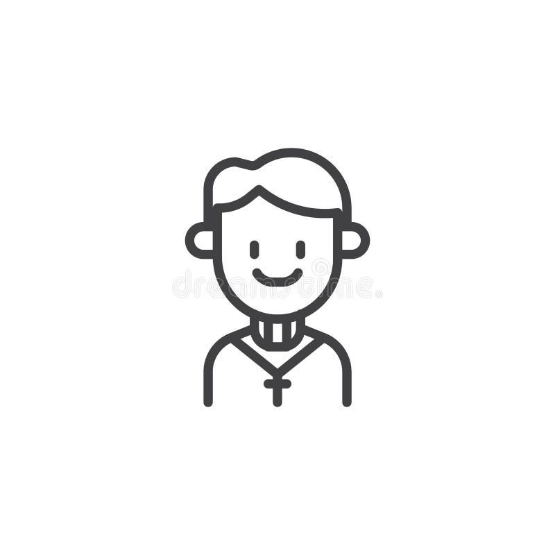 Icono del esquema de la persona del sacerdote ilustración del vector