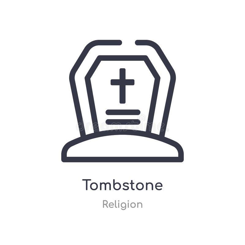 icono del esquema de la piedra sepulcral l?nea aislada ejemplo del vector de la colecci?n de la religi?n icono fino editable de l stock de ilustración