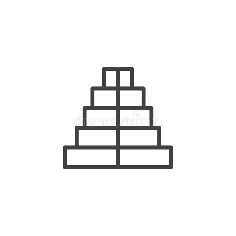 Icono del esquema de la pirámide stock de ilustración