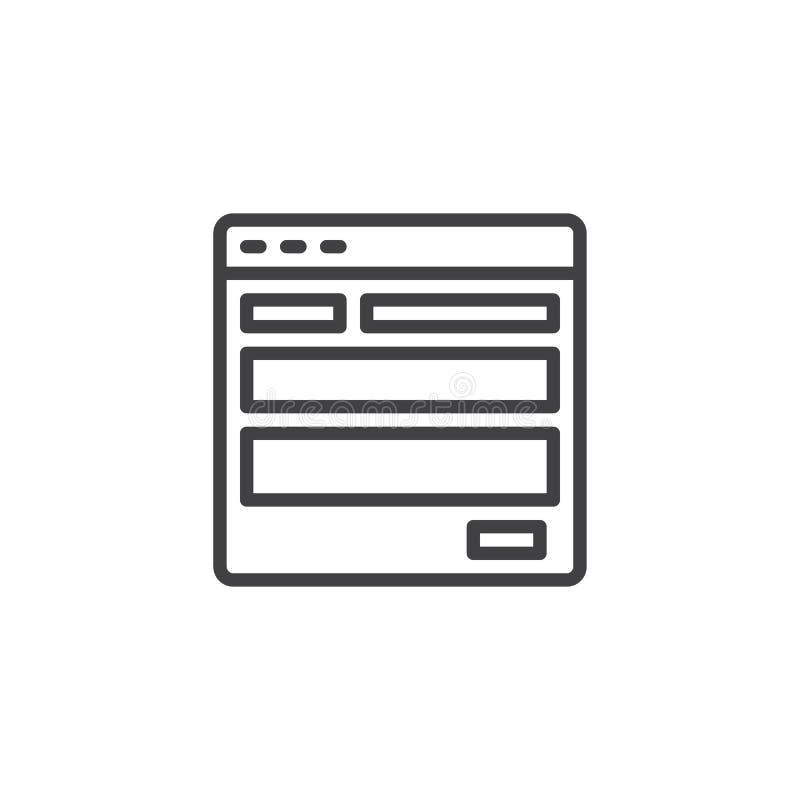 Icono del esquema de la plantilla del sitio web stock de ilustración