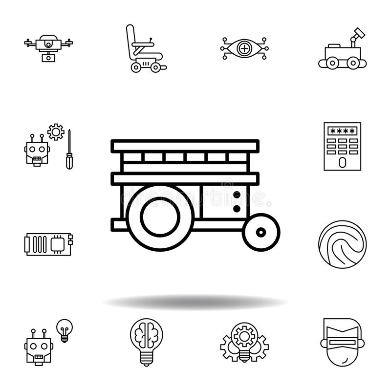 Icono del esquema de la plataforma de la rob?tica fije de iconos del ejemplo de la robótica las muestras, símbolos se pueden util ilustración del vector