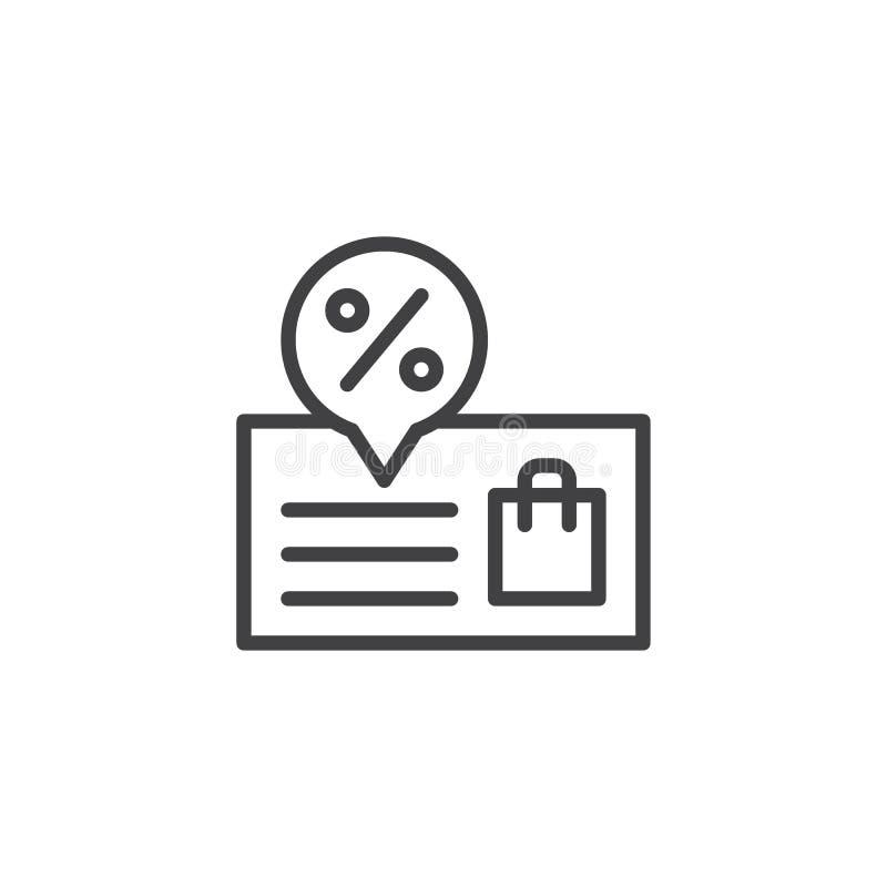 Icono del esquema de la promoción ilustración del vector