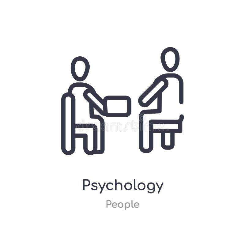icono del esquema de la psicología l?nea aislada ejemplo del vector de la colecci?n de la gente icono fino editable de la psicolo stock de ilustración