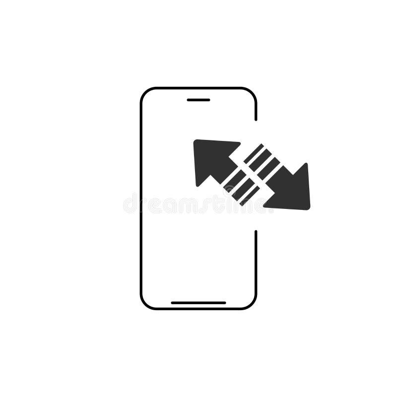 Icono del esquema de la sincronizaci?n del tel?fono m?vil muestra linear del estilo para el concepto y el dise?o web m?viles flec stock de ilustración