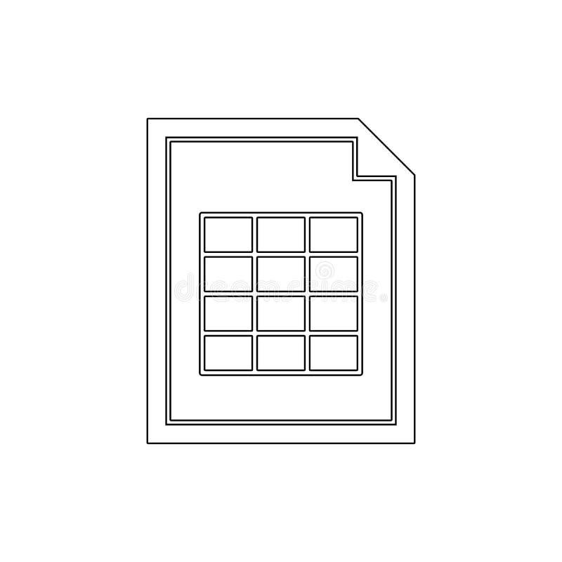 Icono del esquema de la tabla de la hoja de cálculo del documento Las muestras y los s?mbolos se pueden utilizar para la web, log stock de ilustración