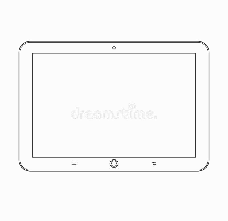 Icono del esquema de la tableta Plantilla del dispositivo móvil del vector libre illustration