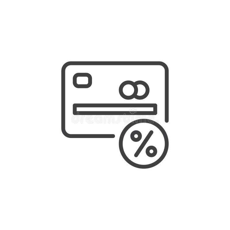 Icono del esquema de la tarjeta de crédito del porcentaje stock de ilustración