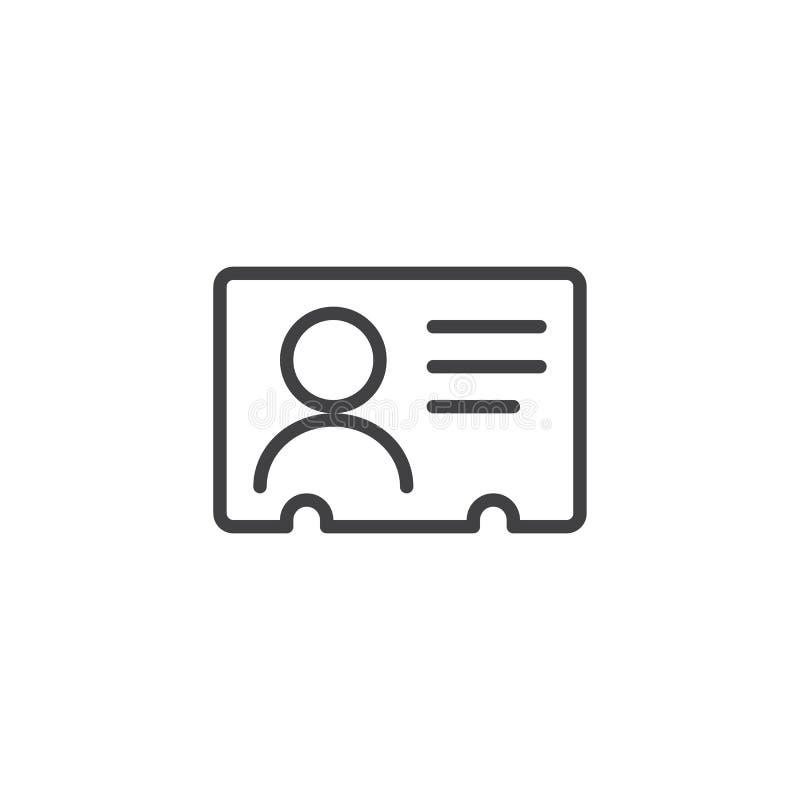 Icono del esquema de la tarjeta de la identificación ilustración del vector