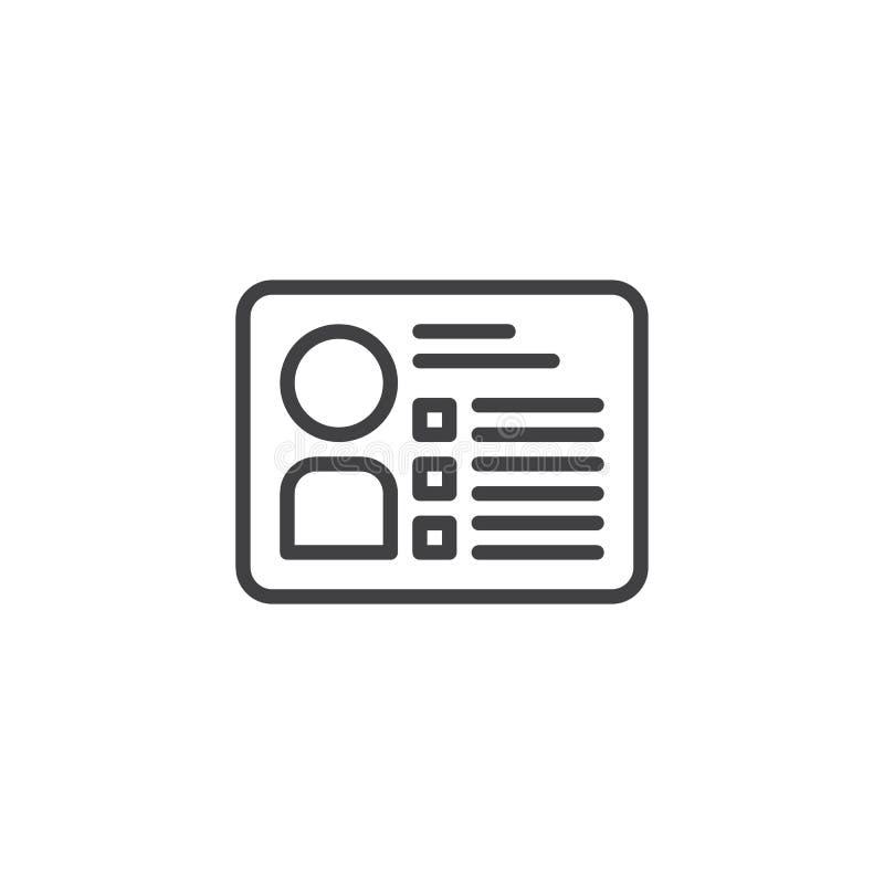 Icono del esquema de la tarjeta de la identificación stock de ilustración