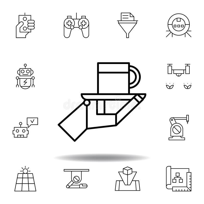 Icono del esquema de la taza del camarero del robot de la rob?tica fije de iconos del ejemplo de la robótica las muestras, símbol libre illustration