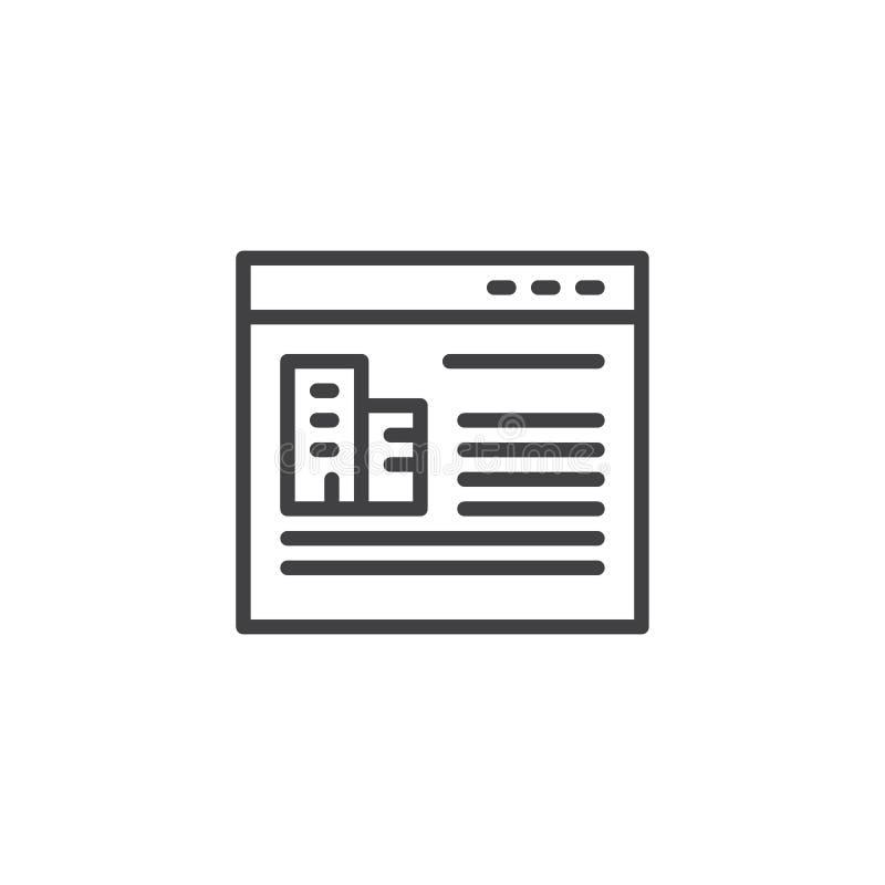 Icono del esquema de la tienda en línea de las propiedades inmobiliarias ilustración del vector
