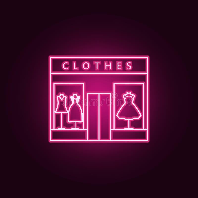 icono del esquema de la tienda de ropa de las mujeres Elementos del centro comercial de la alameda en los iconos de neón del esti libre illustration