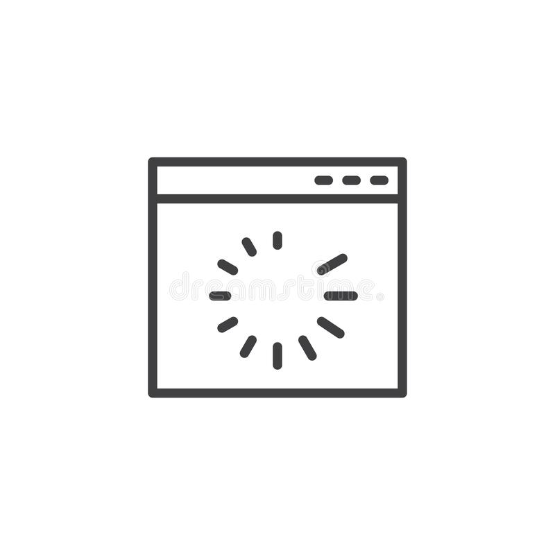 Icono del esquema de la transferencia directa de la página de la página web stock de ilustración