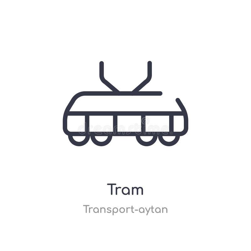 Icono del esquema de la tranv?a línea aislada ejemplo del vector de la colección del transporte-aytan icono fino editable de la t ilustración del vector