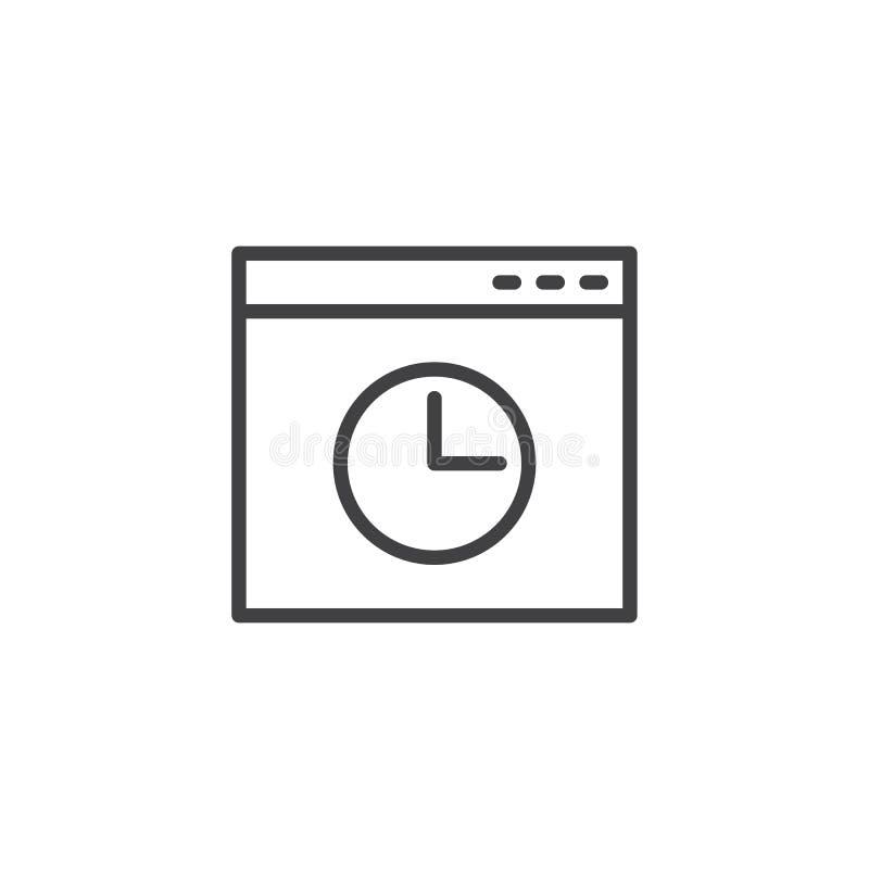 Icono del esquema de la ventana de la historia del navegador ilustración del vector