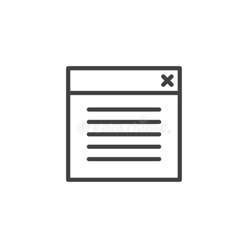 Icono del esquema de la ventana de navegador ilustración del vector