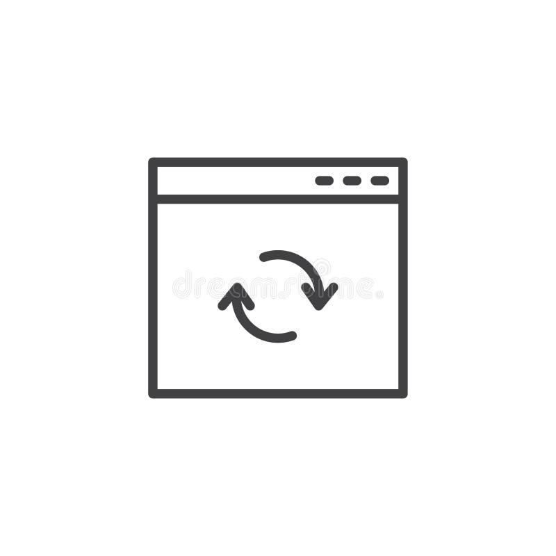 Icono del esquema de la ventana de navegador de la actualización ilustración del vector