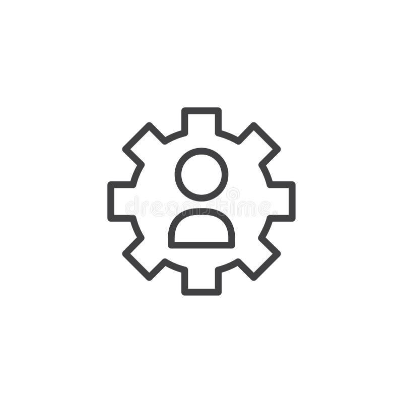 Icono del esquema de las configuraciones del usuario stock de ilustración