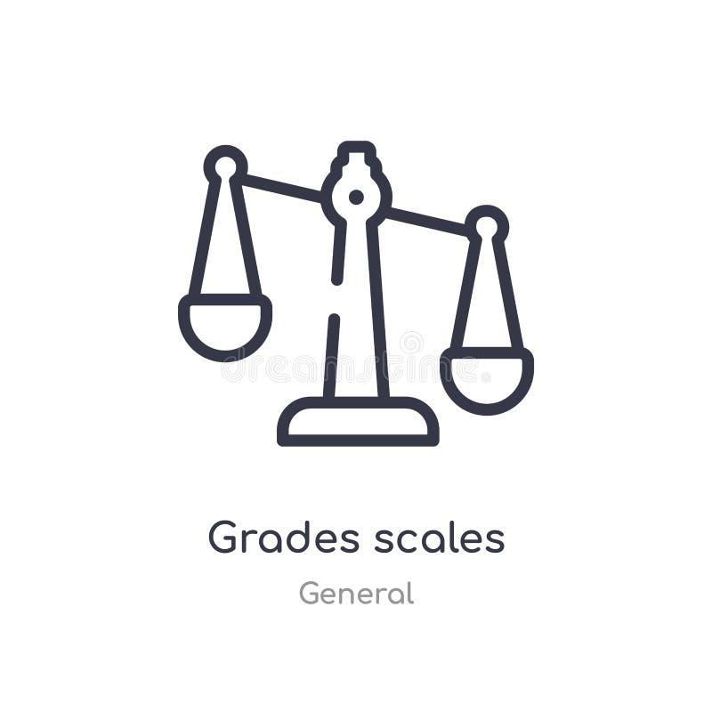 icono del esquema de las escalas de los grados l?nea aislada ejemplo del vector de la colecci?n general icono fino editable de la stock de ilustración