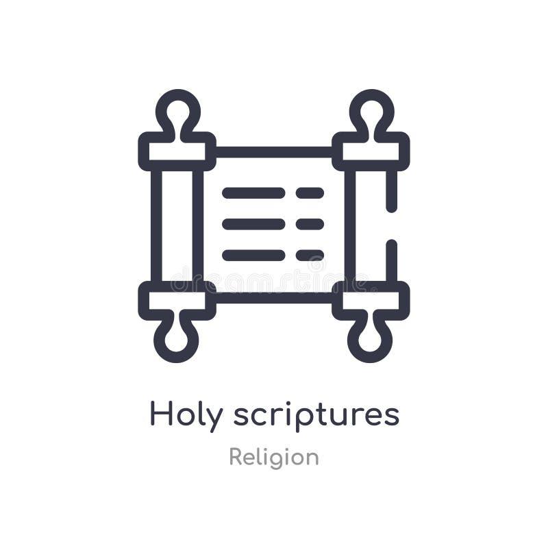 icono del esquema de las escrituras santas l?nea aislada ejemplo del vector de la colecci?n de la religi?n escrituras santas del  stock de ilustración