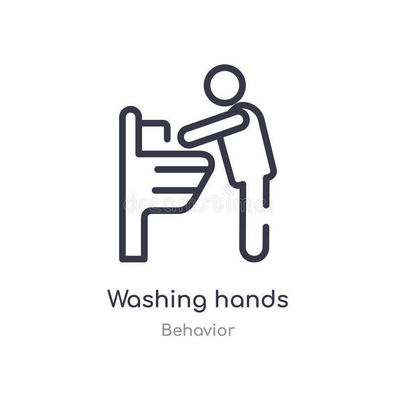 icono del esquema de las manos que se lava l?nea aislada ejemplo del vector de la colecci?n del comportamiento icono de las manos libre illustration