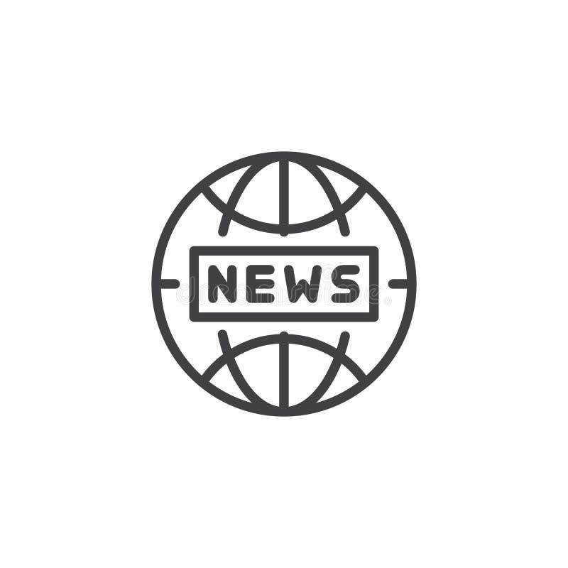 Icono del esquema de las noticias de mundo stock de ilustración