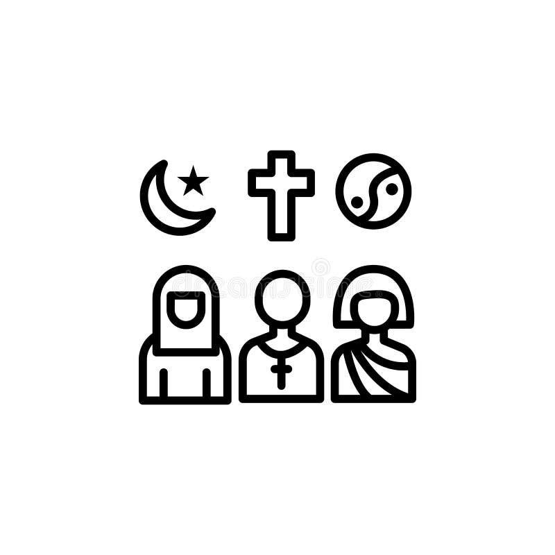 icono del esquema de las religiones de la migración elemento del icono del ejemplo de la migración las muestras, símbolos se pued ilustración del vector