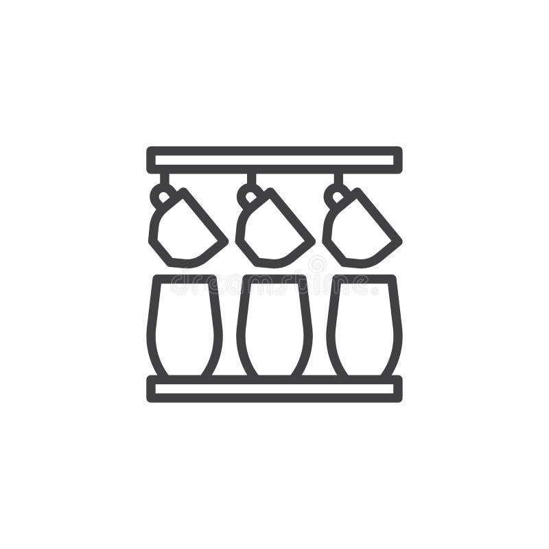 Icono del esquema de las tazas de café de la ejecución stock de ilustración