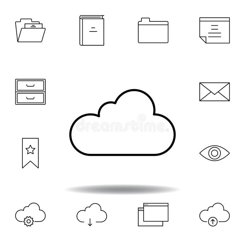 Icono del esquema de los datos de la nube Sistema detallado de iconos de los ejemplos de las multimedias del unigrid Puede ser ut ilustración del vector