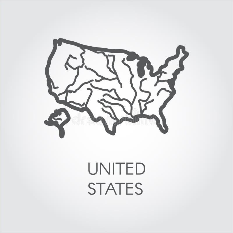 Icono del esquema de los Estados Unidos de América Mapa de la frontera de los E.E.U.U. en estilo linear Etiqueta del país stock de ilustración