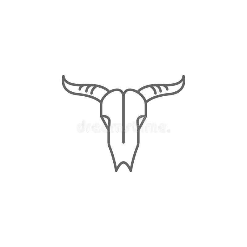 icono del esquema de los huesos de la muerte del cráneo del toro Elementos del icono del ejemplo del Día de la Independencia Las  stock de ilustración