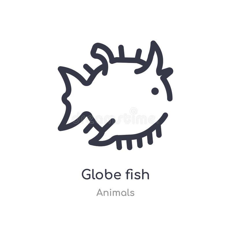 icono del esquema de los pescados del globo l?nea aislada ejemplo del vector de la colecci?n de los animales icono fino editable  stock de ilustración