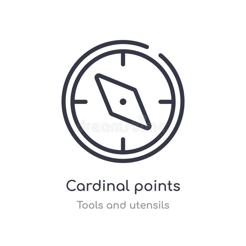 icono del esquema de los puntos cardinales l?nea aislada ejemplo del vector de la colecci?n de las herramientas y de los utensili ilustración del vector