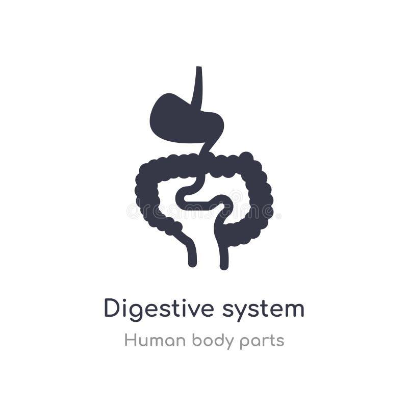 icono del esquema de sistema digestivo l?nea aislada ejemplo del vector de la colecci?n humana de las partes del cuerpo movimient libre illustration