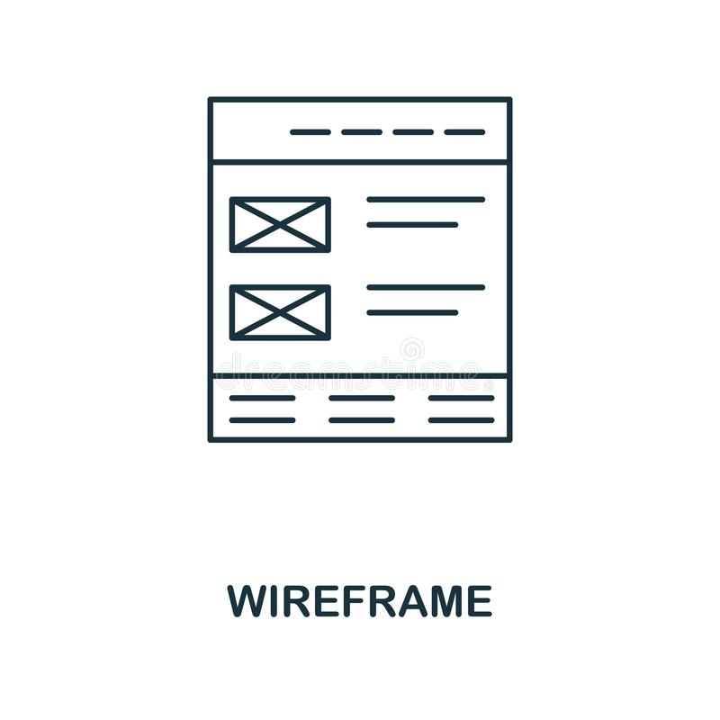 Icono del esquema de Wireframe Diseño simple de la colección del icono del desarrollo web UI y UX Icono perfecto del wireframe de stock de ilustración