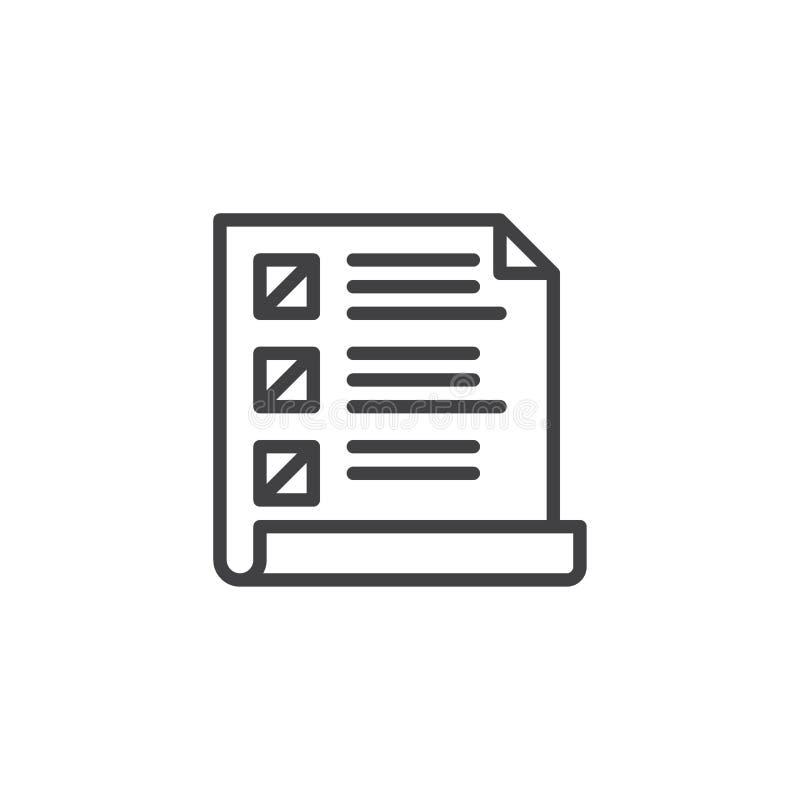 Icono del esquema de Wishlist ilustración del vector