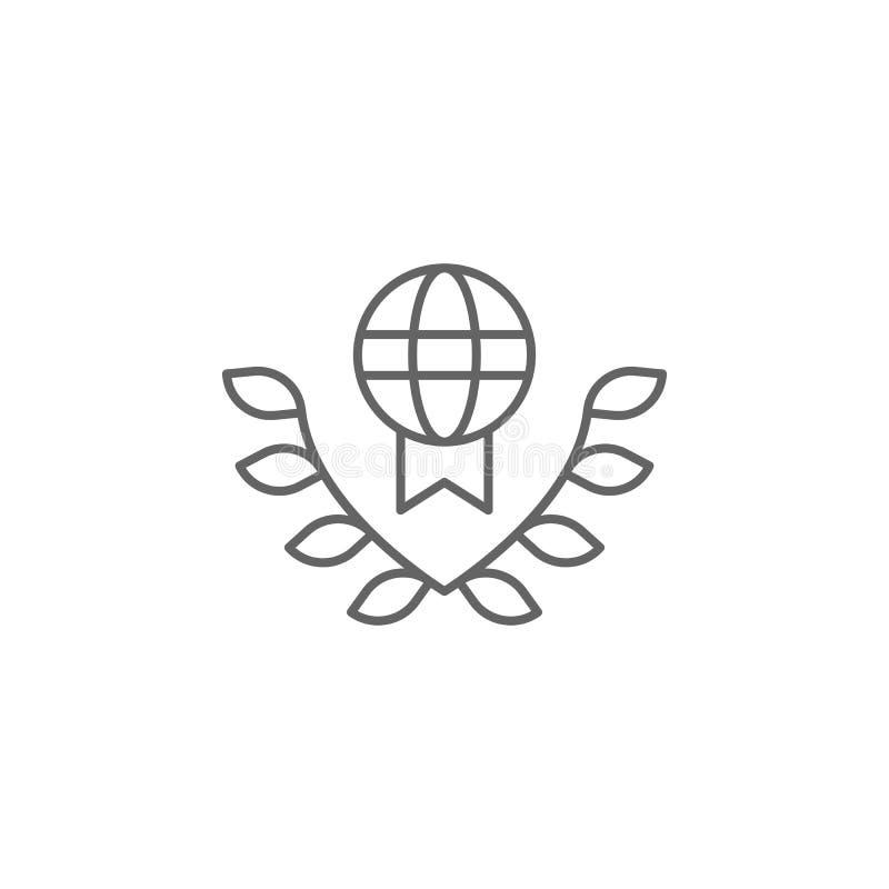 Icono del esquema del derecho internacional de la justicia Elementos de la línea icono del ejemplo de la ley Las muestras, los sí libre illustration