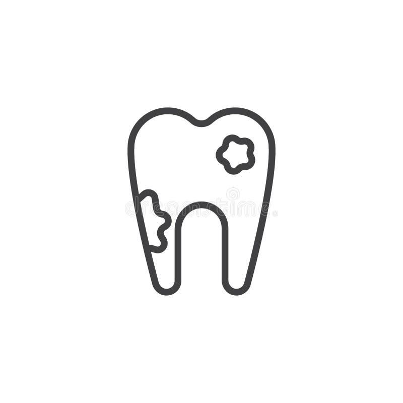 Icono del esquema del diente de decaimiento ilustración del vector