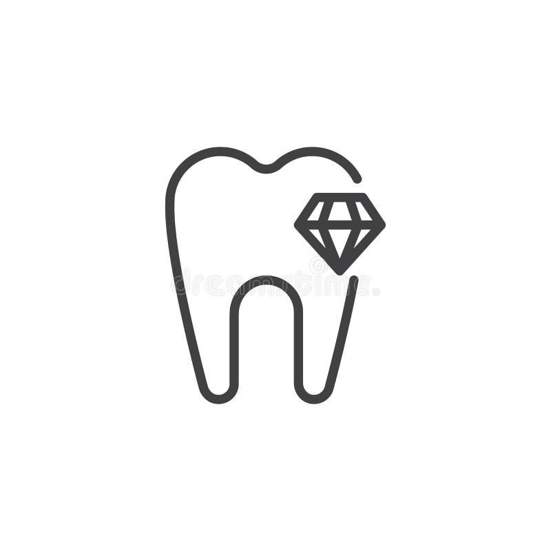 Icono del esquema del diente del diamante ilustración del vector