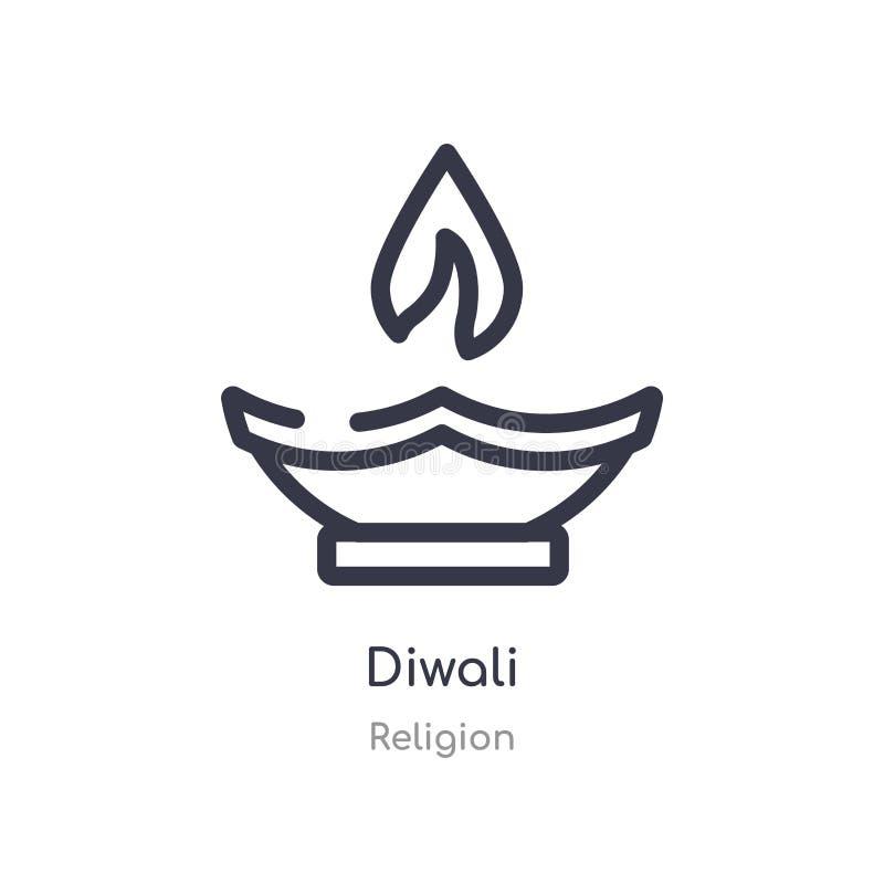 icono del esquema del diwali l?nea aislada ejemplo del vector de la colecci?n de la religi?n icono fino editable del diwali del m stock de ilustración