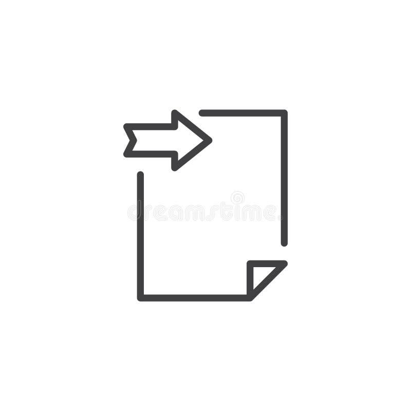 Icono del esquema del documento del fichero de la clave ilustración del vector