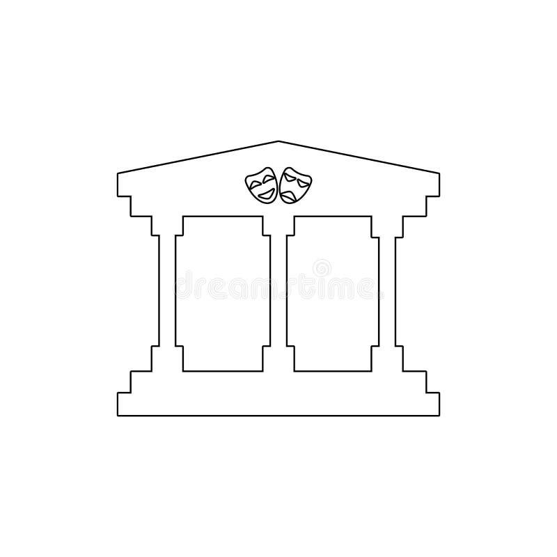 icono del esquema del edificio del teatro Elementos del icono del ejemplo de los edificios Las muestras y los s?mbolos se pueden  stock de ilustración
