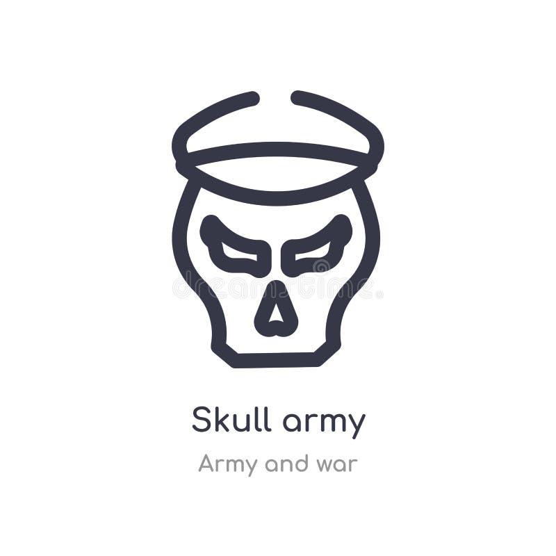 icono del esquema del ejército del cráneo l?nea aislada ejemplo del vector de la colecci?n del ej?rcito y de la guerra icono fino ilustración del vector