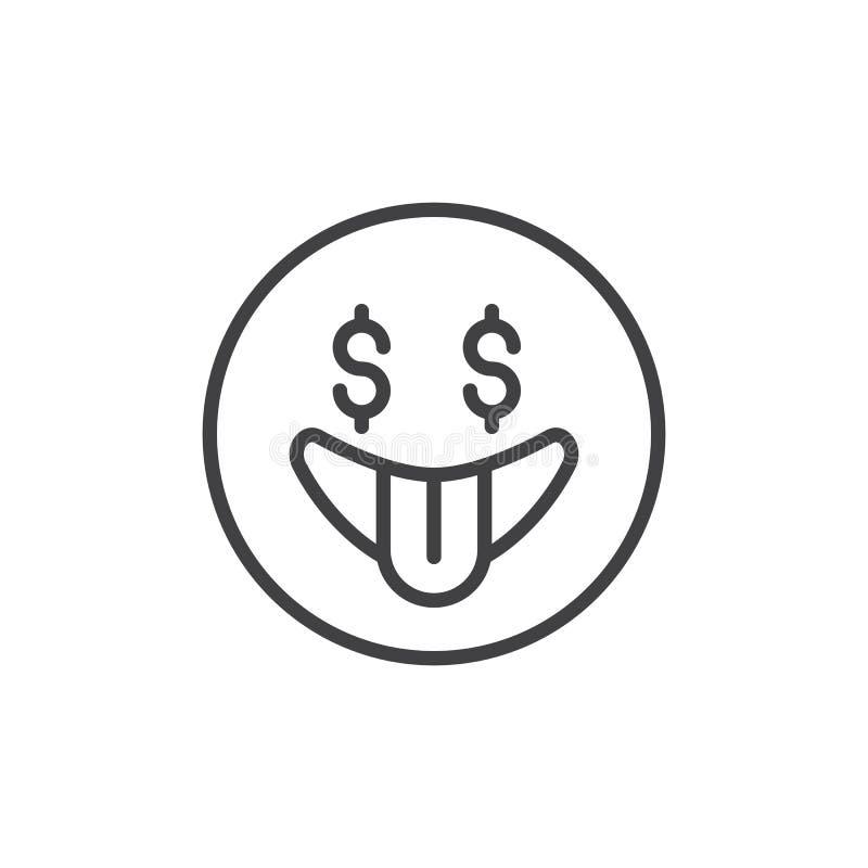 Icono del esquema del emoticon de la fiebre del dinero ilustración del vector