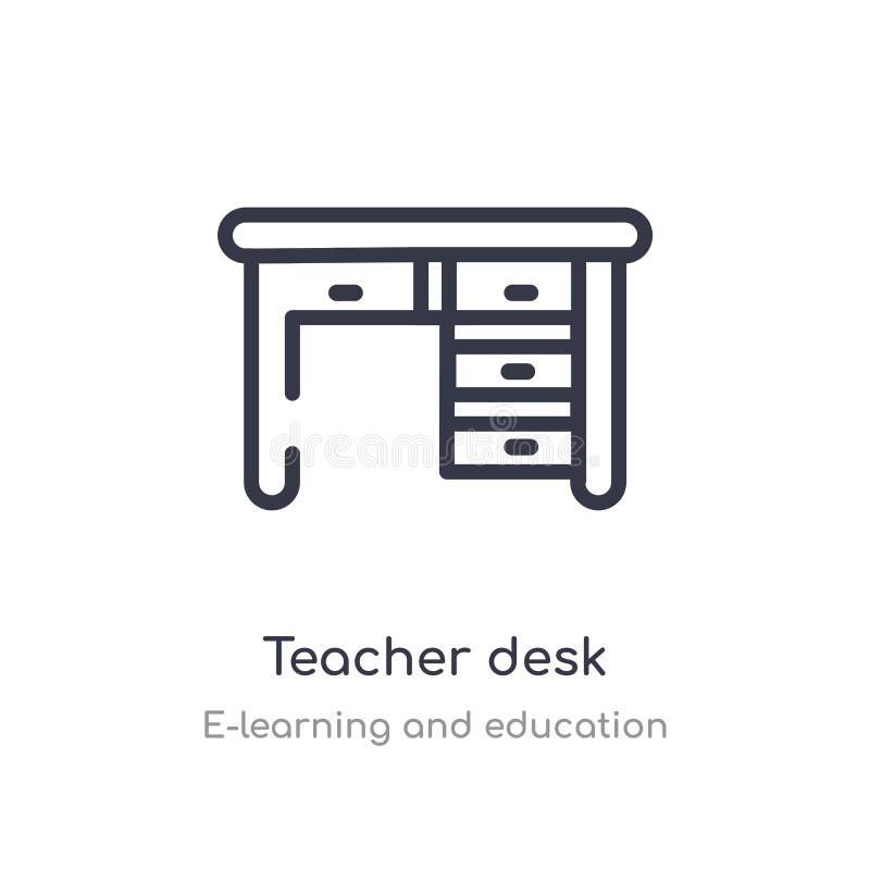 icono del esquema del escritorio del profesor l?nea aislada ejemplo del vector de la colecci?n del aprendizaje electr?nico y de l libre illustration