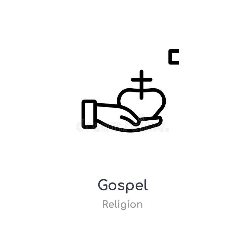 icono del esquema del evangelio l?nea aislada ejemplo del vector de la colecci?n de la religi?n icono fino editable del evangelio libre illustration