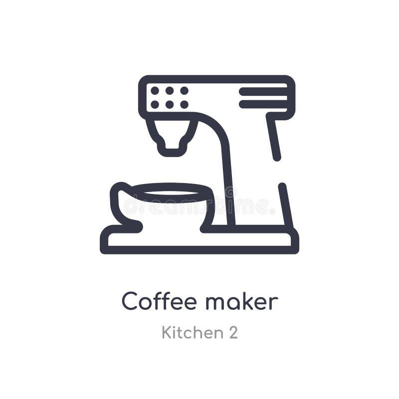 Icono del esquema del fabricante de caf? l?nea aislada ejemplo del vector de la colecci?n de la cocina 2 icono fino editable del  ilustración del vector