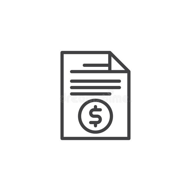 Icono del esquema del fichero de documento de la factura stock de ilustración