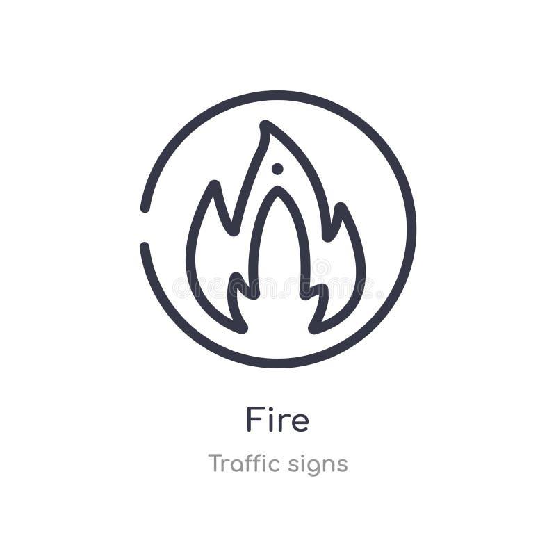 Icono del esquema del fuego l?nea aislada ejemplo del vector de la colecci?n de las se?ales de tr?fico icono fino editable del fu stock de ilustración